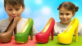 Ali and Adriana Play with colored chocolate shoes Fun Kid video