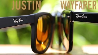 Ray-Ban Justin vs Original Wayfarer(Ray-Ban Justin RB4165 Vs Original Wayfarer RB2140 On Face Review ▻Buy Ray-Ban Original Wayfarer http://amzn.to/1WXzxD1 ▻Buy Ray-Ban Justin ..., 2016-05-31T19:38:24.000Z)
