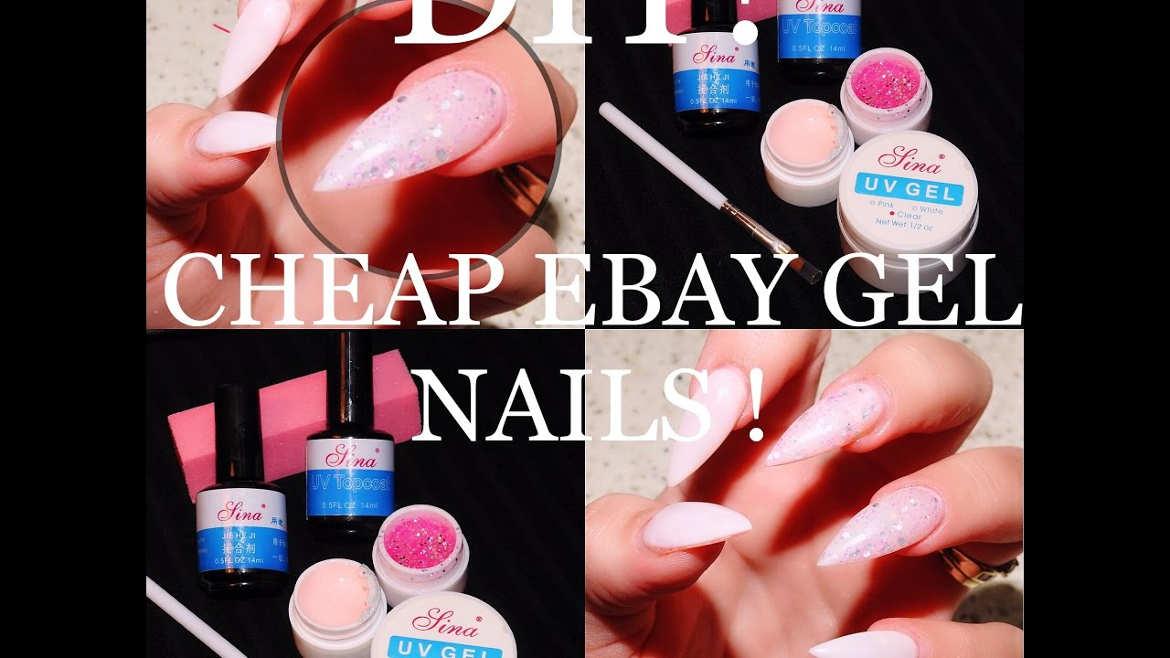 PINK & GLITTER GEL NAILS - EBAY PRODUCTS! - YouTube