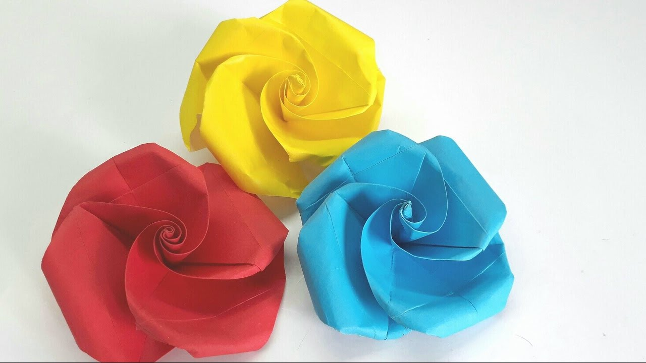 Origami Tutorial - Very Easy and Simple to make Paper Rose ... - photo#31
