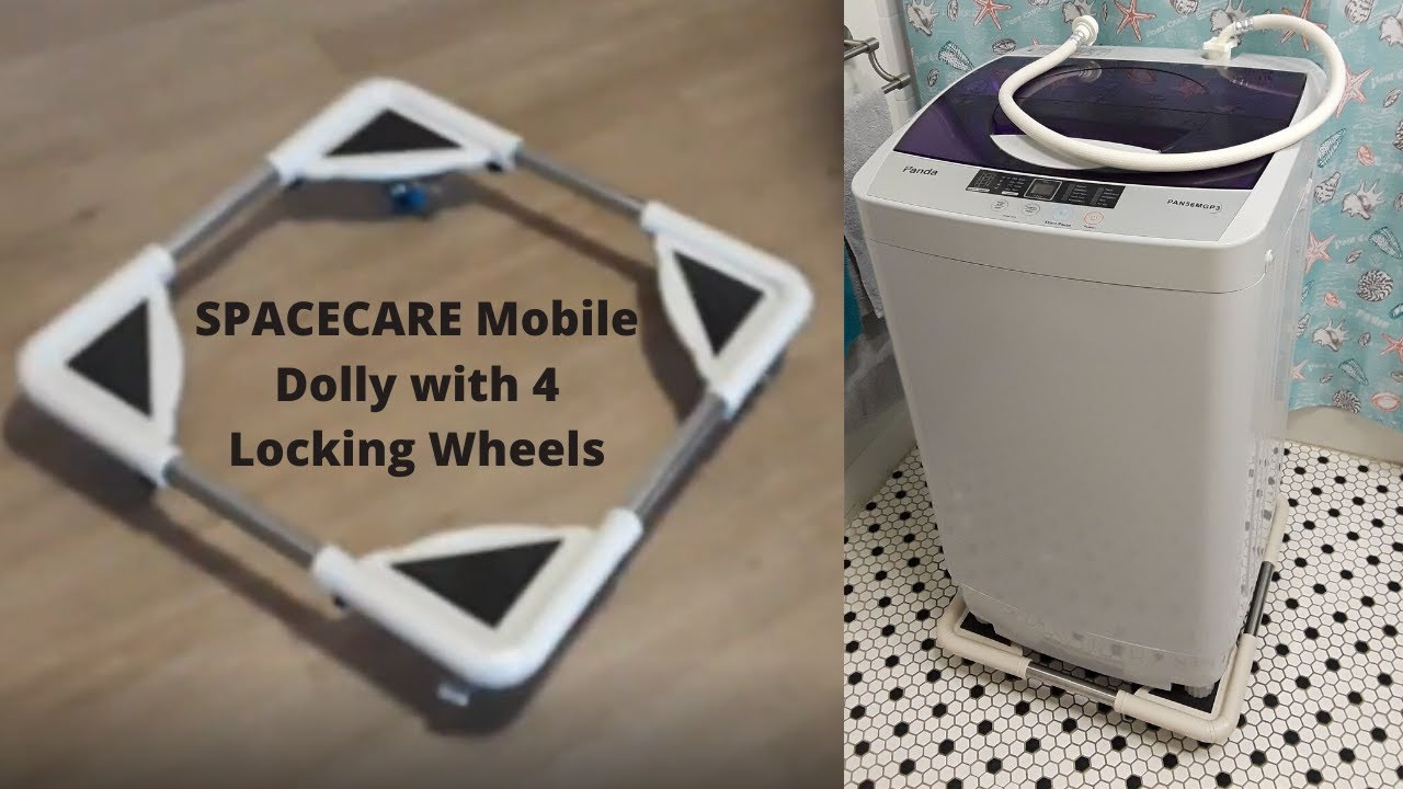 DAILYLIFE Mobile Roller with 4 Locking Wheels Adjustable Furniture Dolly Washing Machine Stand Refrigerator Base Moving Cart Square Corner