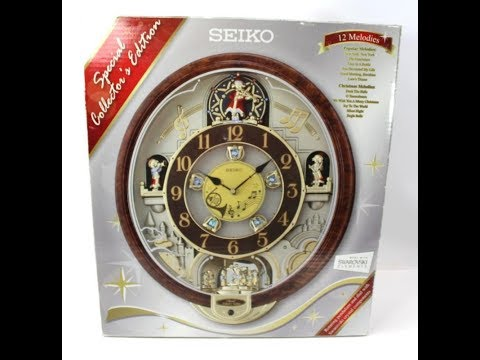 Seiko QXM481BR Melodies in Motion Musical Clock with Swarovski Crystals Moving