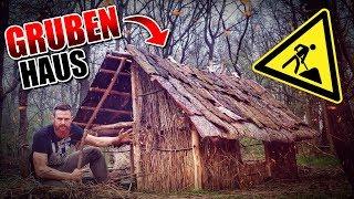 GRUBENHAUS Bushcraft Shelter #011 - Lagerbau - Outdoor Bushcraft Camp | Fritz Meinecke