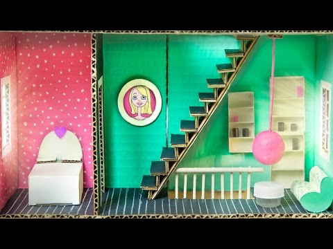 How to Make the Bedroom & Living Room In the Cardboard House | DIY Houses on Box Yourself