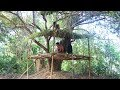 Primitive Tool : Build ​Simple tree house​​ And Roof In Forest