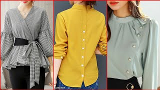 Top trendy and stylish blouses sleeves and neck designs 2019 -Simple  Blouses Neck Designs