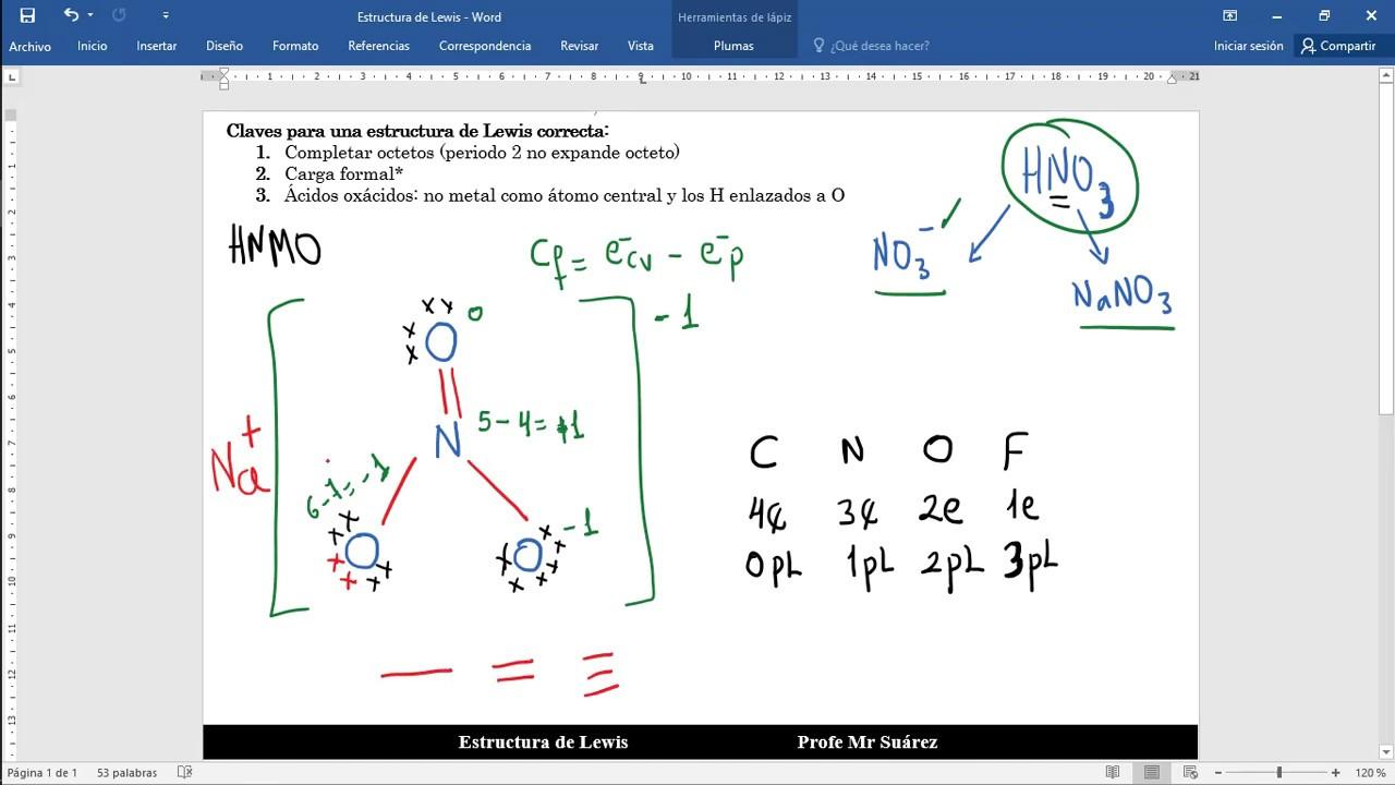 Estructura de Lewis HNO3 (ácido nítrico) - ion nitrato y nitrato de sodio - YouTube