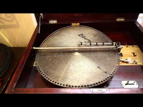 "Antique Mira 18.5"" Disc Dual Comb Concert Grand Music Box For Sale"