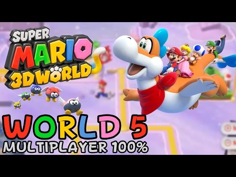 Super Mario 3D World - World 5 (multiplayer 100% walkthrough)
