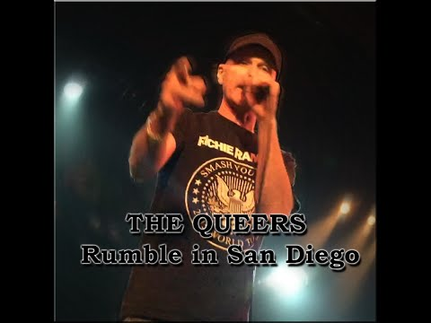 The Queers fight on stage Aug 9th, 2015 at the Northpark Theater, San Diego Ca