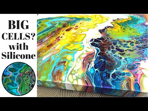 Big Cells Fluid Painting Acrylic Pouring With Floetrol And Silicone Youtube