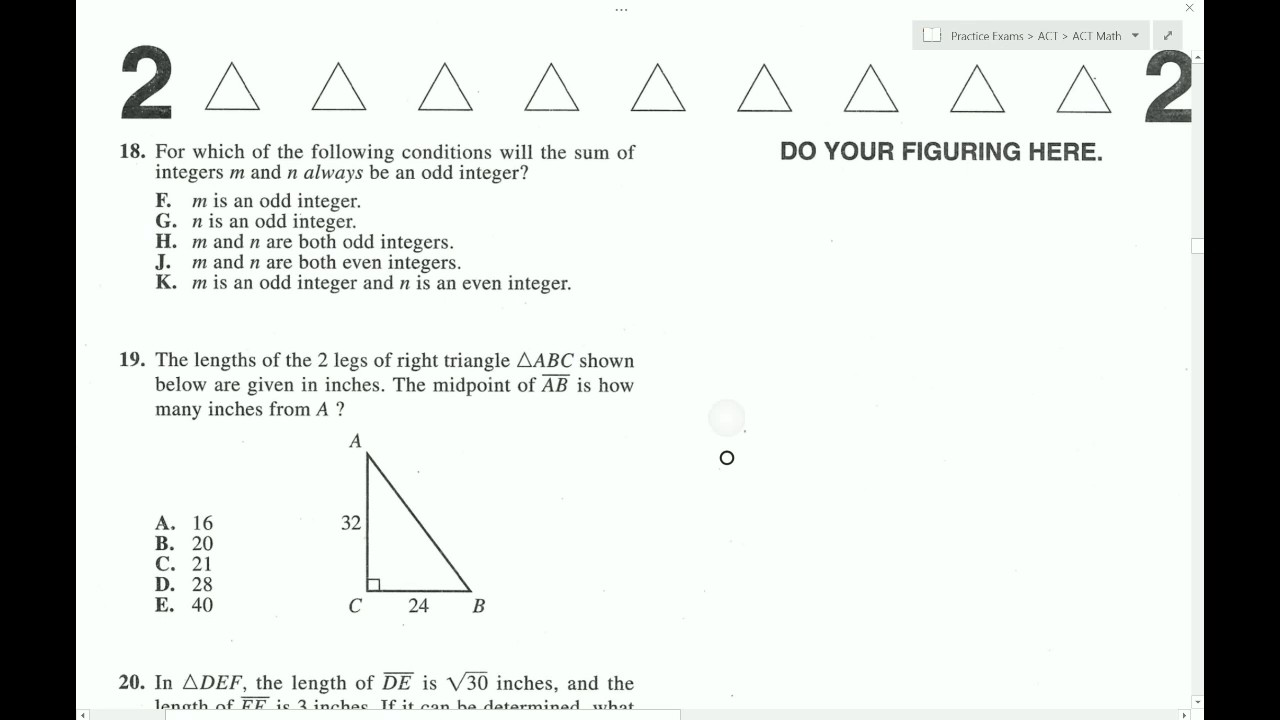 ACT Form 74F Math Full - YouTube