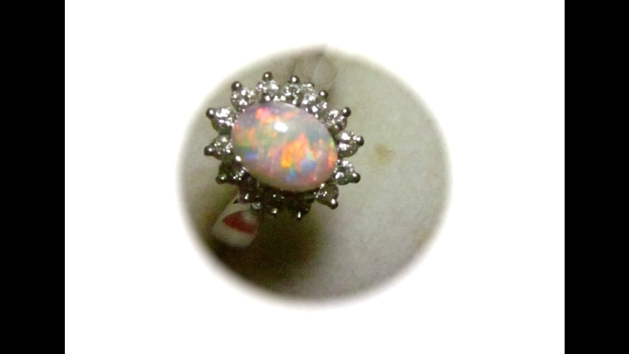 rings sterling created opal october birthstone diamond accents with ring silver