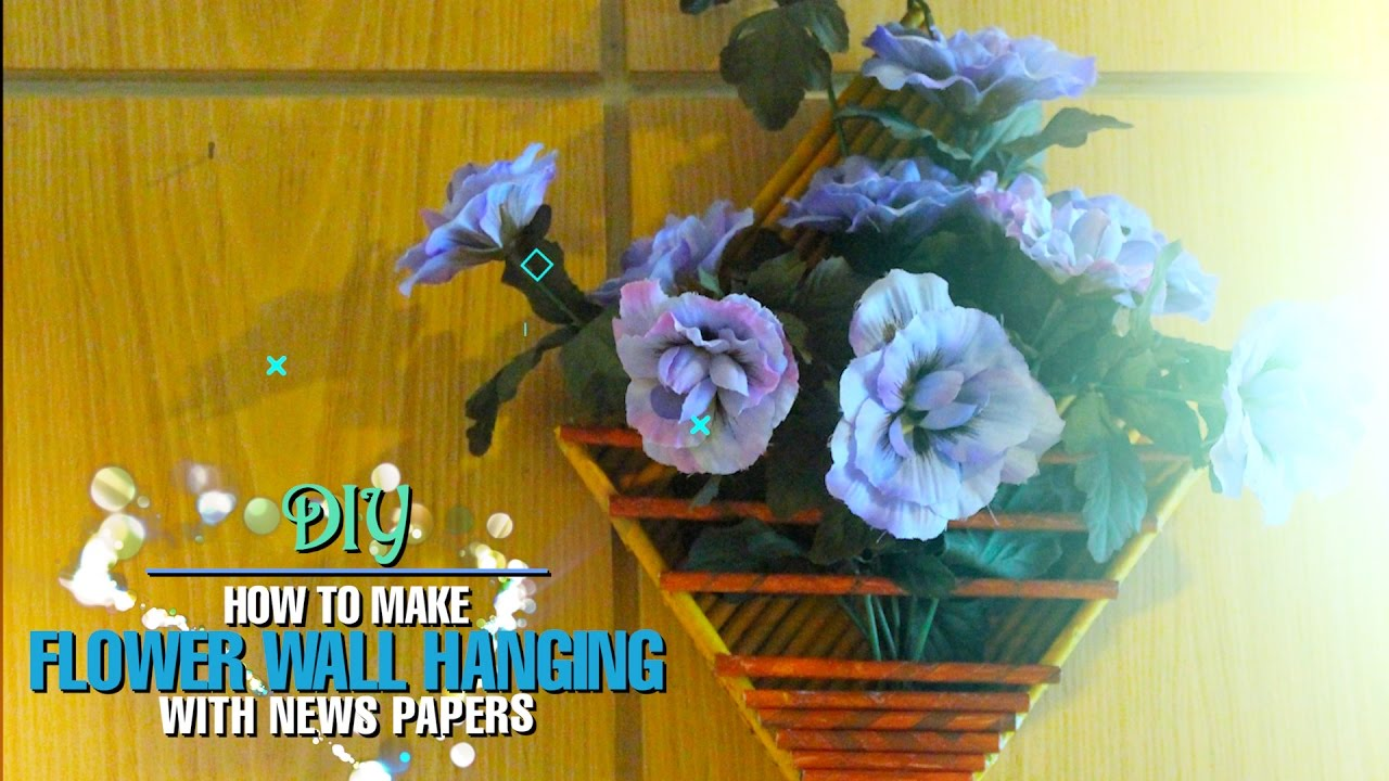 DIY Flower Wall Hanging With Newspapers: Home Decor - YouTube