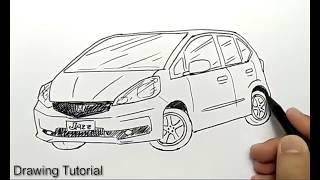 How to Draw Honda Jazz Car