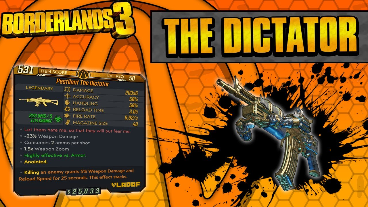 Borderlands 3 | The Dictator Legendary Weapon Guide (Multi-Pellet Spam!) thumbnail