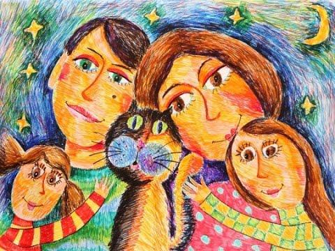 Поздравления с Днем Семьи🌷🌸🌷Праздник День Семьи🌷🌸🌷Веселая музыкальная открытка из детских рисунков - Видео с YouTube на компьютер, мобильный, android, ios