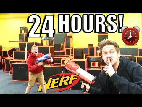 24-hour-fort-overnight-challenge-at-nerf-arena!