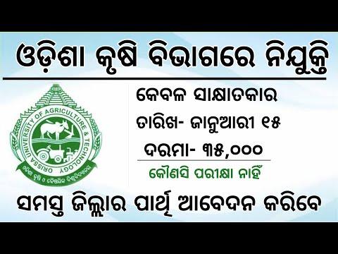 OUAT Recruitment 2020   Odisha Agriculture Department   Odisha Jab Update 2019   SRF Job