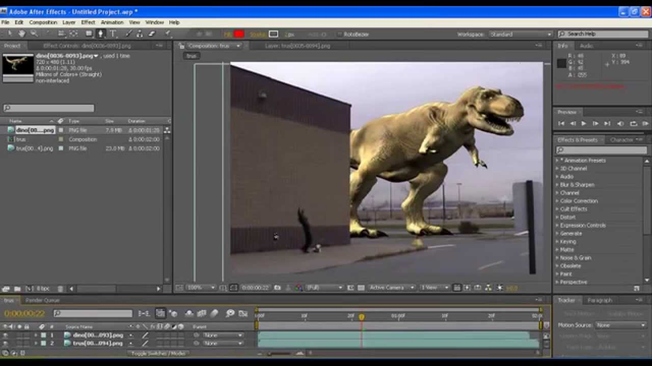 After Effects Tutorial In Telugu Roto Dinosaur Effect Youtube