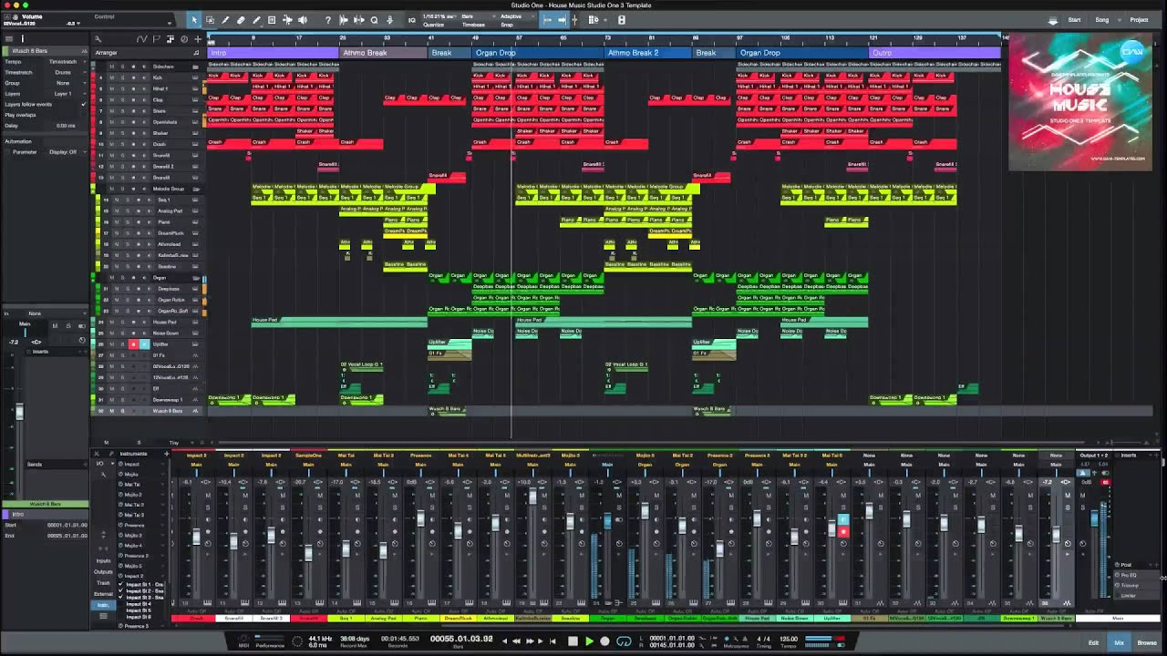 Studio One 3 DAW Template /Project House Music