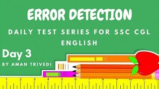 Daily Test Series For SSC CGL and CHSL English - Error Detection Day 3