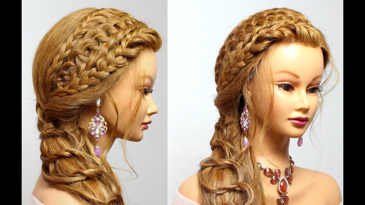 Braided Hairstyle For Long Hair Tutorial Party Look Youtube