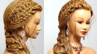 Braided hairstyle for long hair tutorial. Party look.
