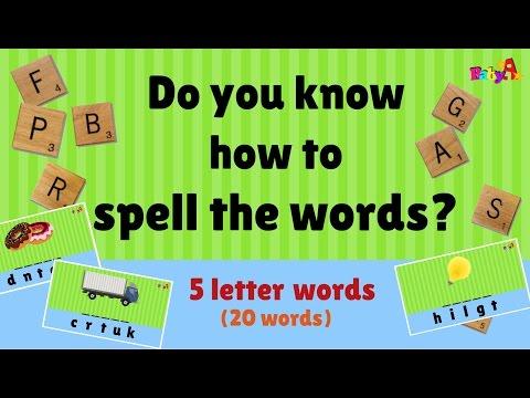 Spelling of words 5 letter  Scrabble  Word Games 1  BaA Nursery Channel