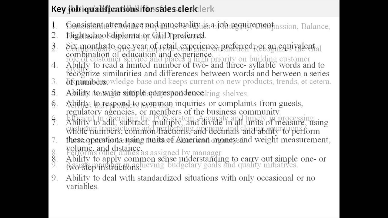 Sales Clerk Job Description   YouTube  Description Of Sales Associate