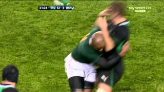 JP Pietersen Hit On Chris Henry Ireland V South Africa Autumn International 2012 HD
