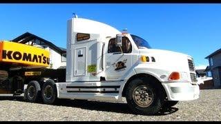 RC ADVENTURES - Ford AeroMax 1/14th 6X4 Semi Truck hauling Excavator on Trailer