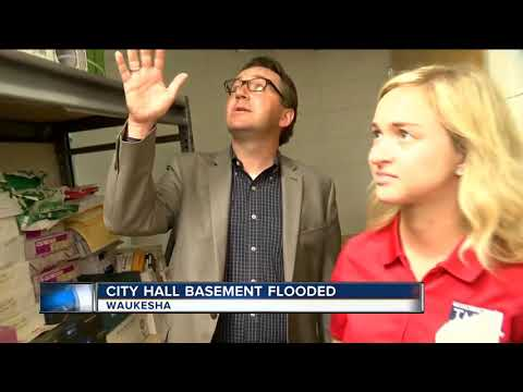 Waukesha City Hall Flooded , Library Without Power
