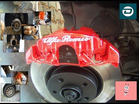 Painting brake callipers on Alfa Romeo 147