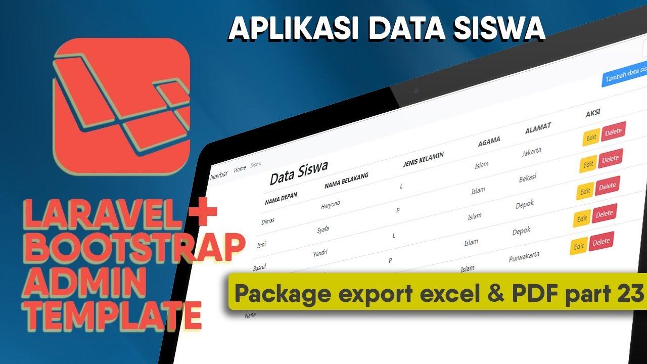 Tutorial CRUD Laravel Bootstrap - package export PDF & Excel (part 23)