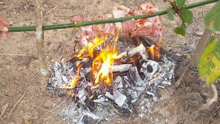 Primitive Technology -  cooking Pork in the forest   - cooking Pork eating delicious