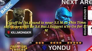 4* Killmonger Basic arena Approx cutoff 2nd Round  ,Mcoc
