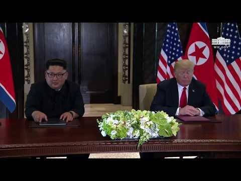 President Trump and North Korean Leader Kim Jong Un Signs a Declaration of Friendship