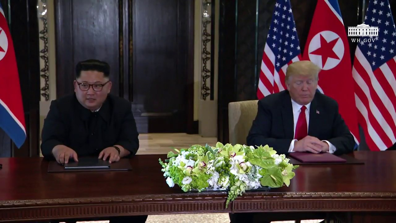 president-trump-and-north-korean-leader-kim-jong-un-signs-a-declaration-of-friendship