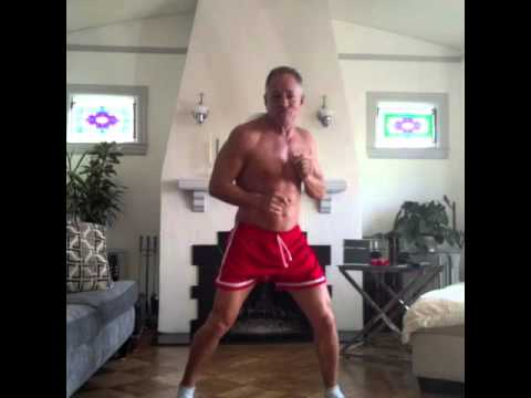 Fit over 50 old man dancing