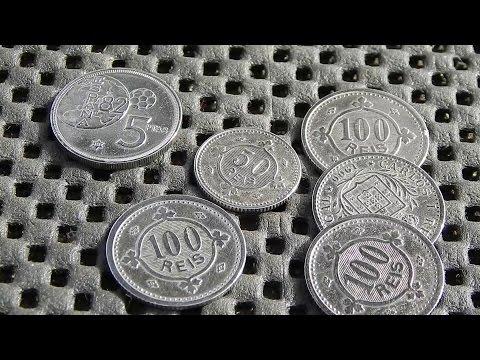 Монеты 100 рейс 50 рейс 1900 г  Reis Portugal coins Europe