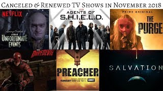 TV Shows cancelled & renewed in November 2018 #TVNews