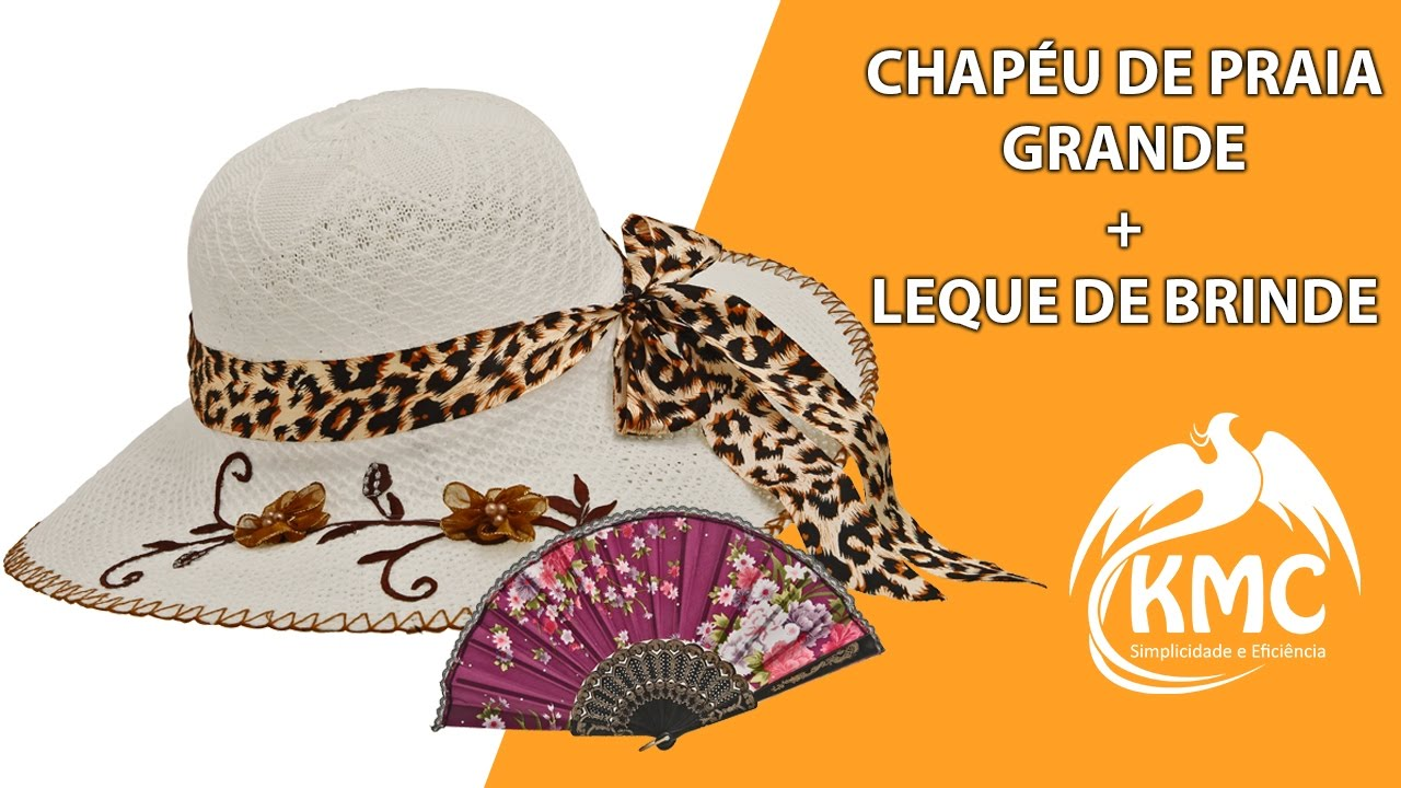 CHAPÉU FEMININO DE PRAIA FLOPPY ABA GRANDE COM FLORES + BRINDE - YouTube 9f73829ba65