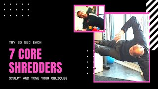 7 core shredders.  Try peppering these  7 core exercises into your existing workout! #core.