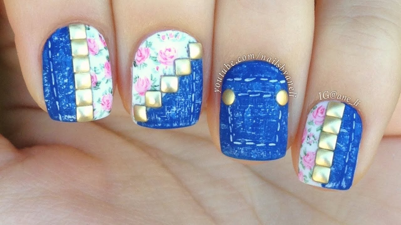 Denim floral nail art tutorial youtube prinsesfo Images