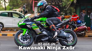 1st RIDE ON KAWASAKI NINJA  ZX6R | EXHAUST NOTE | WALK AROUND