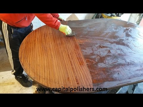 Finishing table in high gloss - How we repair table water damage
