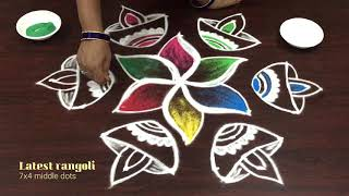 Latest colorful deepam muggulu with 7 dots - creative beautiful Diwali kolam-2018