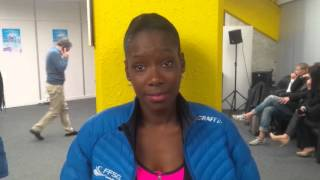 Vanessa James (FRA) reacts to cancellation of Trophee Eric Bompard; Bordeaux, France; 14-11-15