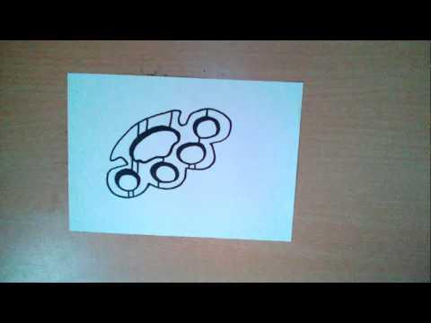 Как нарисовать кастет - How To Draw A Brass Knuckles - 如何画一个黄铜指关节 Как нарисовать милые рисунки